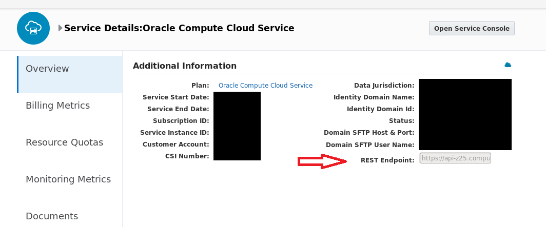 Creating an instance in Oracle Public Cloud via REST API's - a