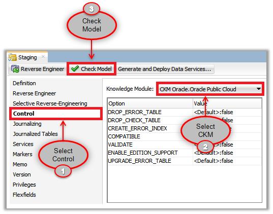 Figure 4 - Using Check Knowledge Modules in ODI Models