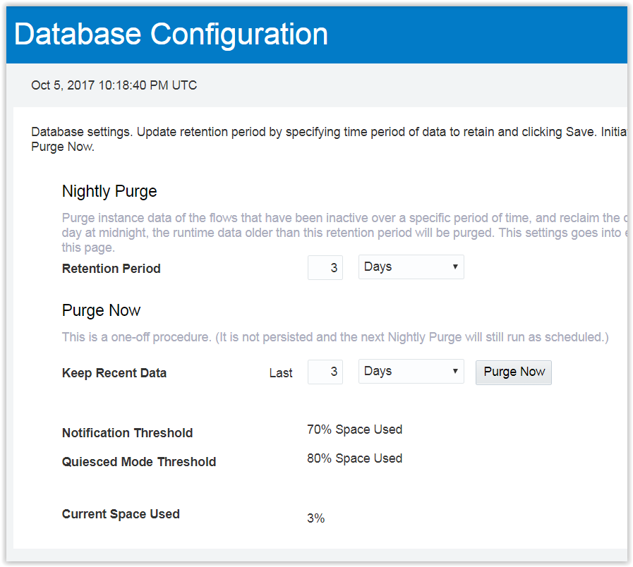 ICS Database Configuration Screen