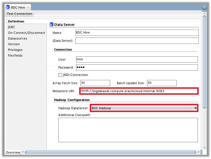 Figure 2 – ODI Topology for Big Data Cloud – Hive Data Server