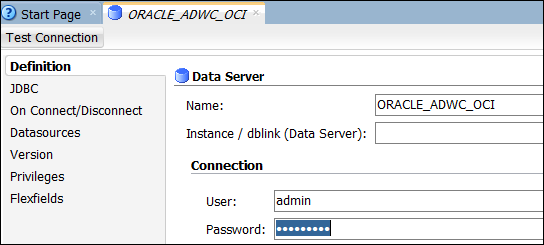 Connecting Oracle Data Integrator Studio to the Autonomous