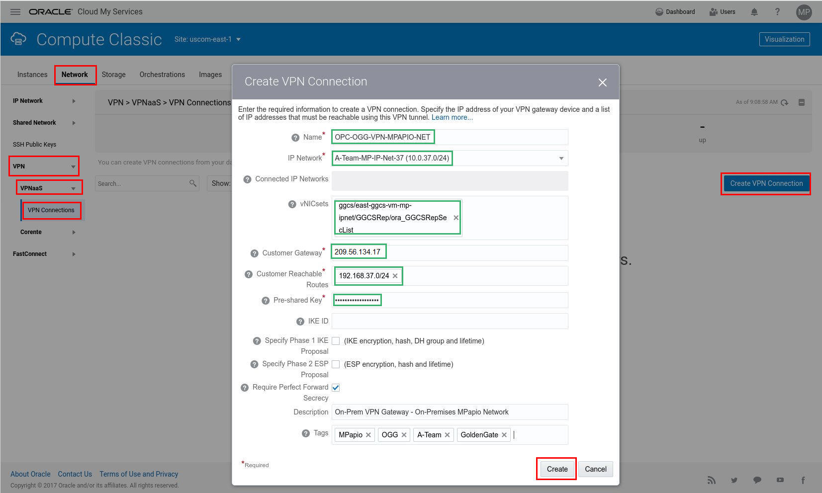 GoldenGate Cloud Service (GGCS): Using VPN as a Service (VPNaaS) for