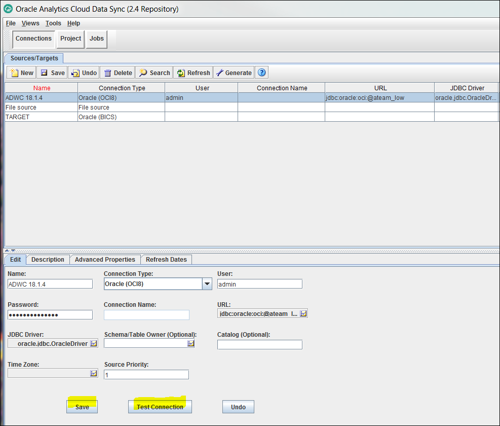 Connecting Oracle Data Sync to the Autonomous Data Warehouse