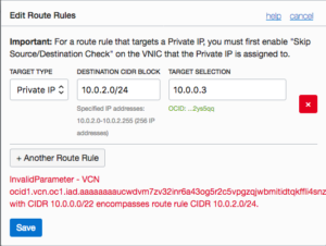 Example screenshot of trying to add an invalid route in OCI