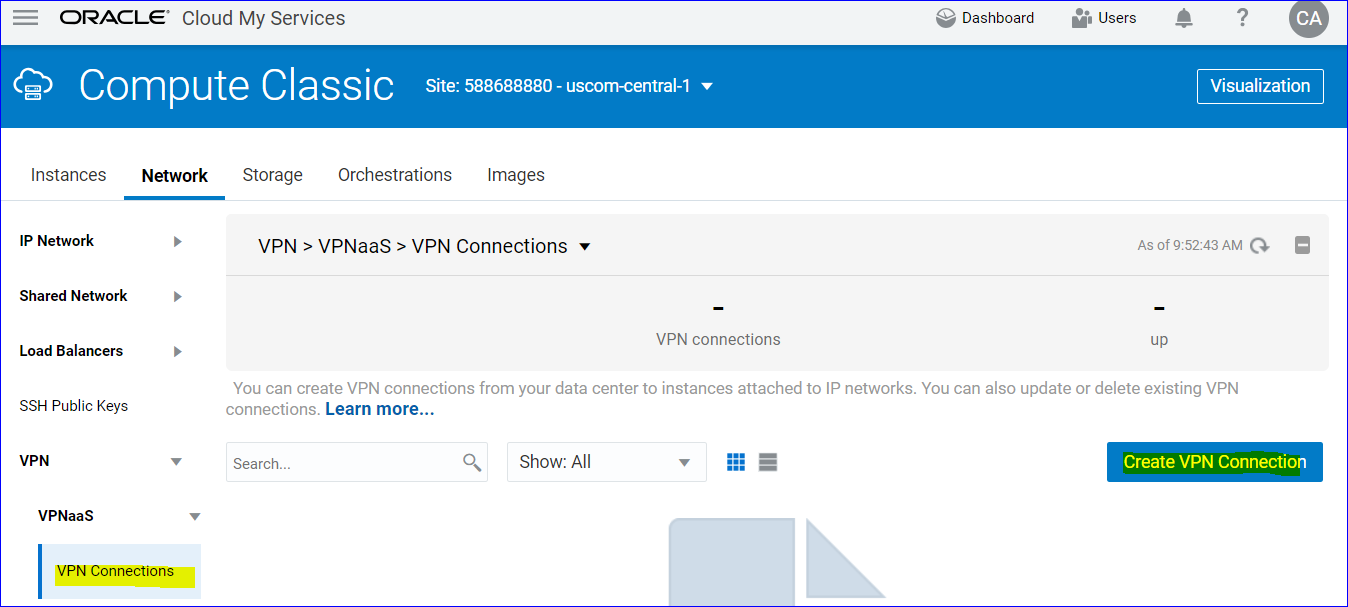 Creating a VPN Connection for Oracle Analytics Cloud on Oracle Cloud
