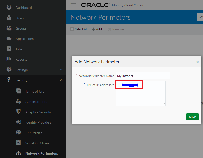 IP Address Whitelisting in Oracle Identity Cloud Service | A